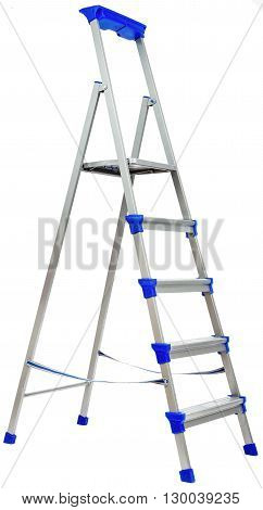 Metal ladder with blue plastic elements. Isolated on white background