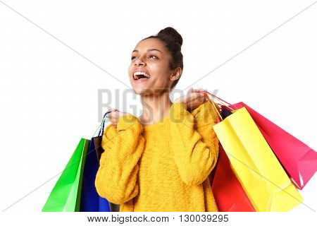 Young And Beautiful Woman With Shopping Bag