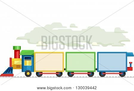 Illustration Featuring of Train Carriages Made of Blank Boards