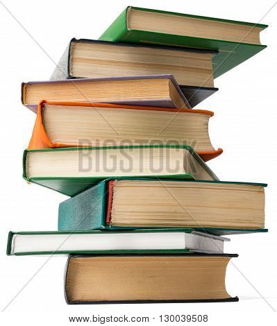 Tower of books. Isolated on white background