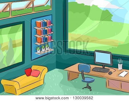 Illustration Featuring the Interior of an Office Facing a Garden