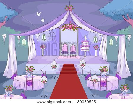 Illustration Featuring a Wedding Venue
