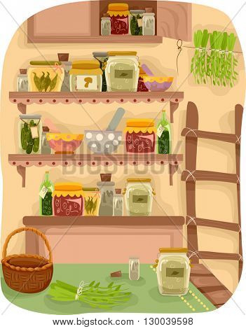 Illustration Featuring a Room Full of Herbs