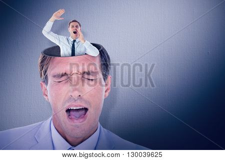 Businessman shouting and waving against digital image of gray wall