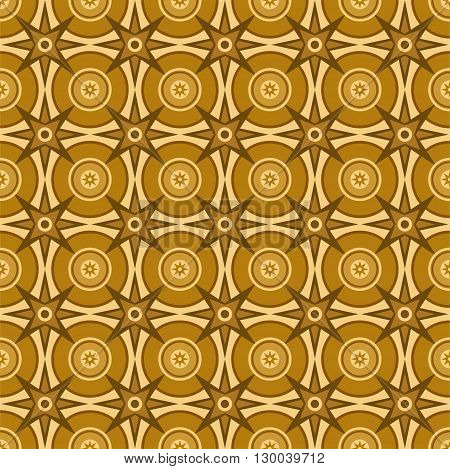 Vector seamless pattern of circles and stars. The pattern for parquet flooring, colour, flat. For the decoration.
