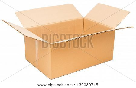 Opened cardboard package, isolated on white background