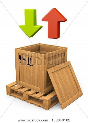 Data communication concept. Open wooden box with on pallet and lid. Packing signs print. Green and red arrows. isolated on white.