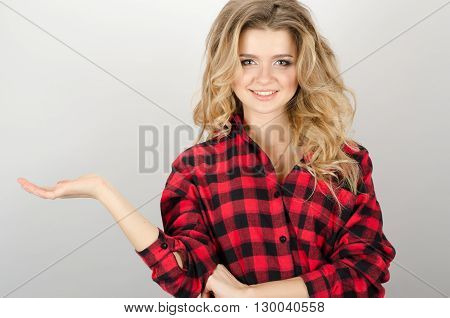 Smiling Woman Showing Open Hand Palm