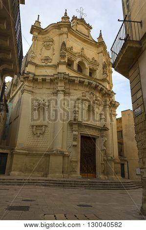 Lecce the baroque church of St. Matthew. stone monuments Lecce