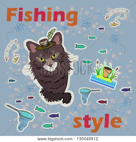Cunning cat fishing. Vector image. Flowers and fish on the background