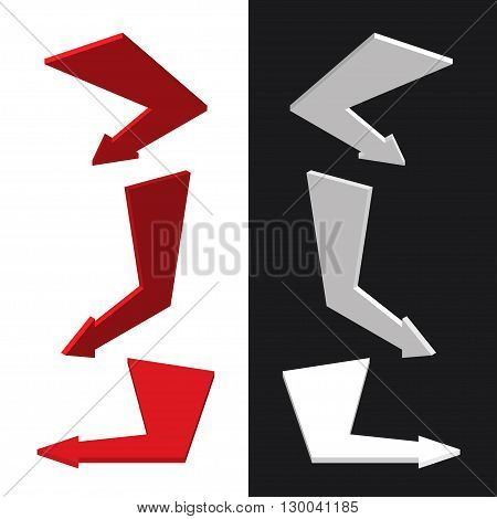 Vector moders set of isometric arrows on sample background