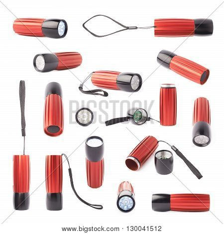 Red metal pocket light-emitting diode led flashlight isolated over the white background, set of multiple different foreshortenings