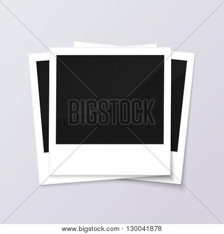 Stack of blank vintage paper photo frames from instant camera with shadow isolated on gray background for images. realistic vector illustration of photoframe with space for images and photos.