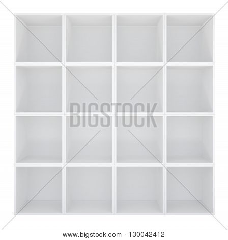 Empty white bookshelf or store cabinet. Isolated on white. 3D rendering
