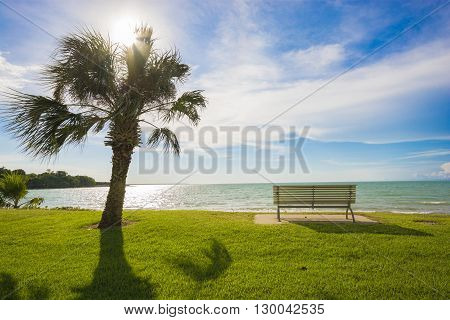 Looking out to sea from a bench - Darwin, Australia