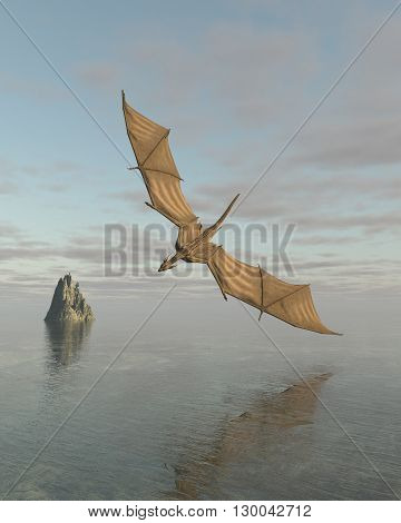 Fantasy illustration of a dragon flying low over a calm ocean in daylight, 3d digitally rendered illustration (3d rendering, 3d illustration)