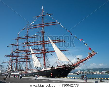 SOCHI, RUSSIA - 15 MAY, 2014. The Russian barque Sedov. Large sailing ships in the port of Sochi.