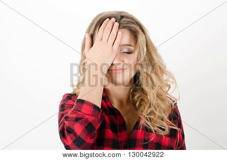 Cute, Young Woman Do Facepalm On White Background