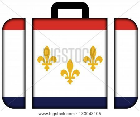 Flag Of New Orleans, Louisiana. Suitcase Icon, Travel And Transportation Concept