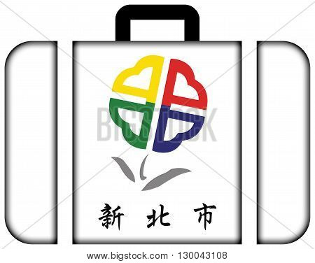 Flag Of New Taipei City, Taiwan. Suitcase Icon, Travel And Transportation Concept