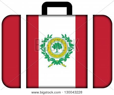 Flag Of Raleigh, North Carolina. Suitcase Icon, Travel And Transportation Concept