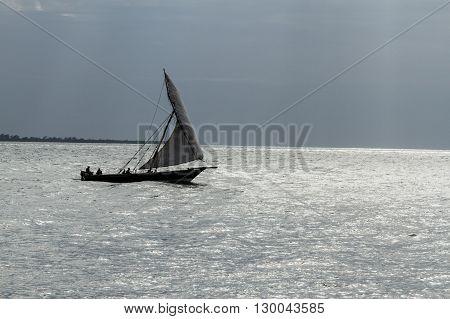Fishermen on a dhow Zanzibar Island, Tanzania