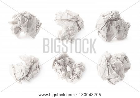 Crumpled ball of white wrapping paper isolated over the white background, set of six different images