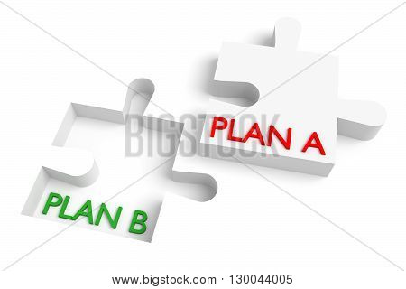 Missing puzzle piece plan a plan b red and green, 3d illustration