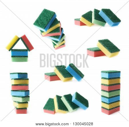 Multiple colorful dish washing kitchen sponges compositions isolated over the white background, set of multiple different foreshortenings