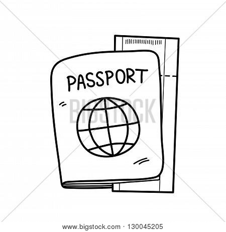 Passport, a hand drawn vector doodle illustration of a passport and a plane ticket.