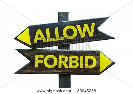 Allow - Forbid crossroad isolated on white background