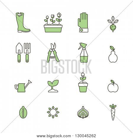 set of line gardening icons