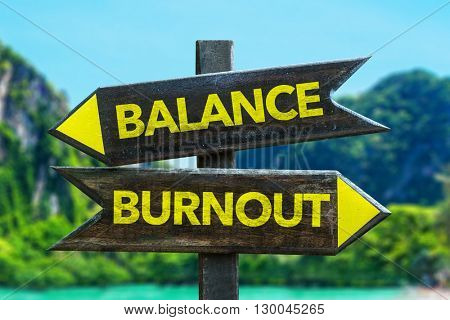 Balance - Burnout crossroad in a beach background
