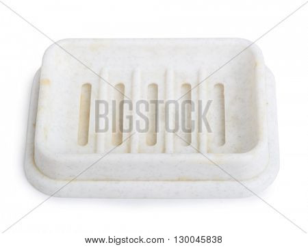 Empty soap dish isolated on white background