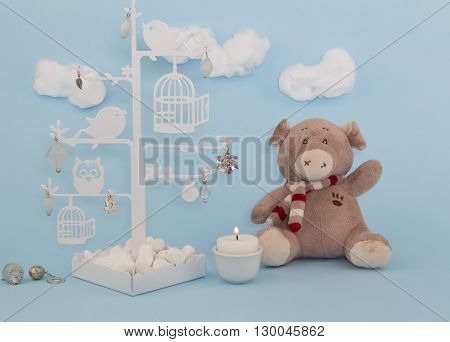 Baby boy blue background invitation with teddy and trinket tree