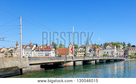 Lucerne, Switzerland - 7 May, 2016: the Seebrucke bridge. The Seebrucke bridge connects the historical and contemporary parts of the city of Lucerne. Lucerne is a city in central Switzerland it is the capital of the Swiss Canton of Lucerne.
