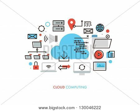 Thin line flat design of cloud computing datum architecture internet network security connection for worldwide business multimedia. Modern vector illustration concept isolated on white background.