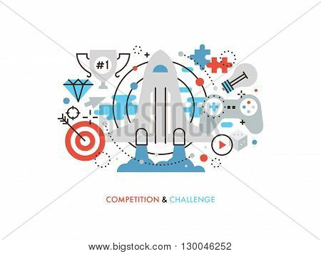 Thin line flat design of new challenge opportunity business competition achievement winning strategy user gamification activity. Modern vector illustration concept isolated on white background.