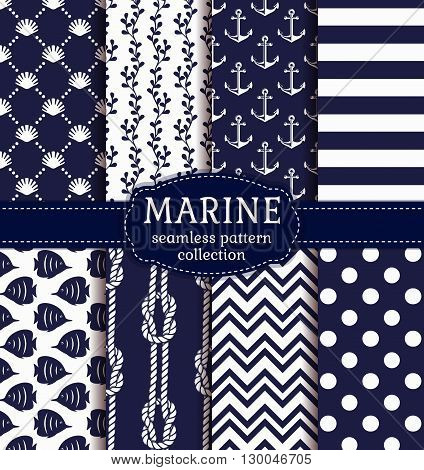 Set of marine and nautical backgrounds in navy blue and white colors. Sea theme. Elegant seamless patterns. Vector collection.