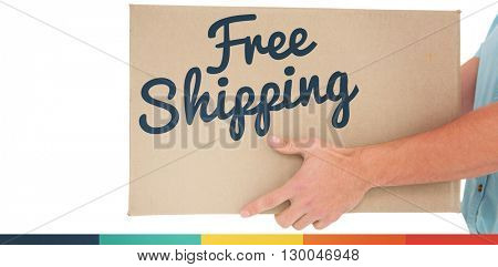 Delivery man carrying cardboard box against free shipping