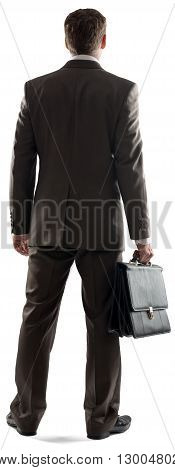 Back view of young businessman standing with briefcase isolated on white background