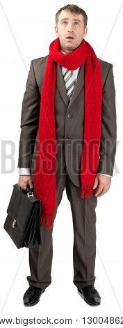 Businessman with sore throat in red scarf isolated on white background