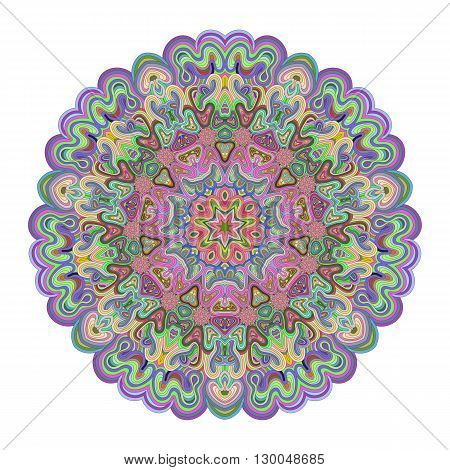 Vivid colored mandala for your design. Lace ornament in form of round pattern. Concentric illusion ornament.