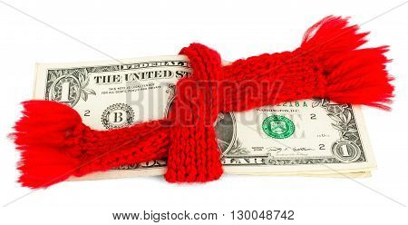 Preservation of Finance. Dollar wrapped in a red scarf