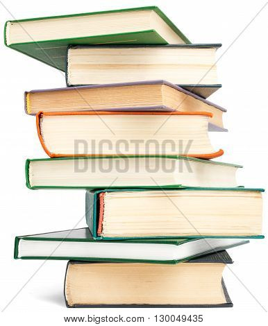 Random textbook tower. Isolated on white background