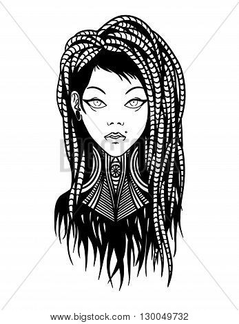 Stylish young girl with dreadlocks, tattoo and piercing. Vector Illustration.