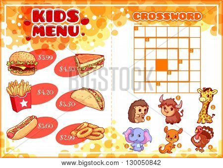 Kids Menu for fast-food with spiral crossword. Hamburger hot-dog sandwich tacos french fries and onion rings. Template menu A4 size horizontal orientation.
