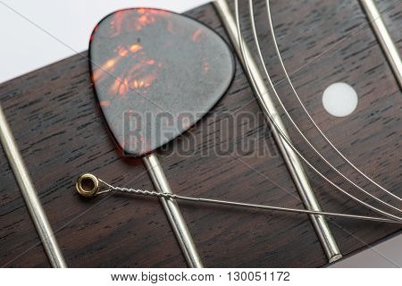 Guitar Frets With String And Mediator