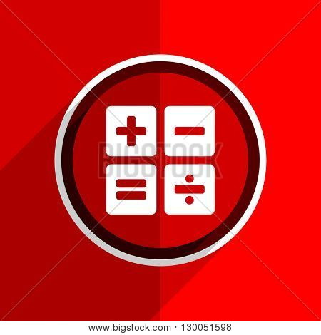 red flat design calculator web modern icon