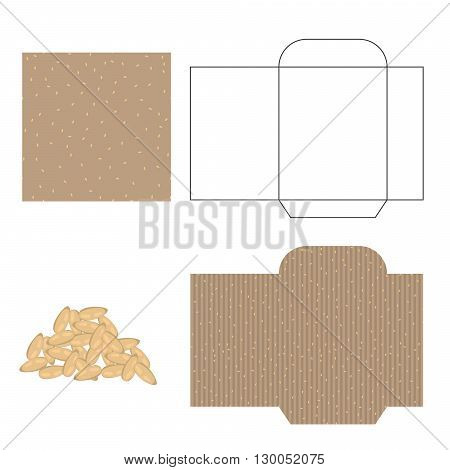 Sesame seeds packaging design kit. Recycled paper pack template. Pile of sesame seeds and pattern for wrap.